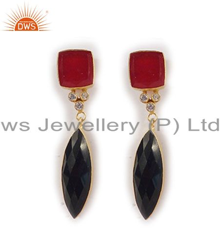 18K Yellow Gold Plated Black Onyx And Red Aventurine Womens Dangle Earrings