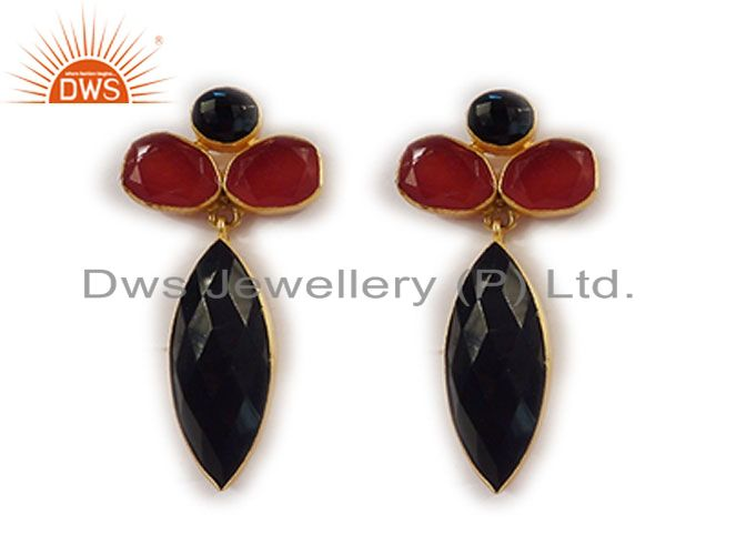 Handmade Red Aventurine And Black Onyx 22K Gold Plated Brass Drop Earrings