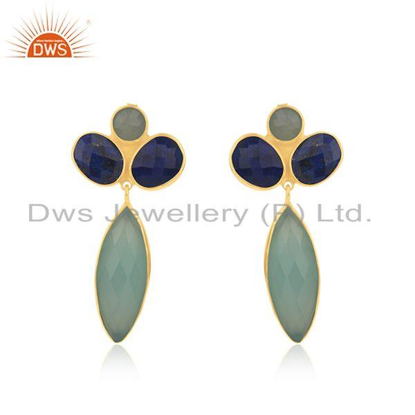 Gold Plated 925 Silver Multi Gemstone Dangle Earrings Manufacturer India