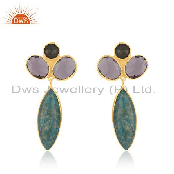 Yellow Gold Plated 925 Silver Multi Gemstone Dangle Earrings Wholesaler Jaipur