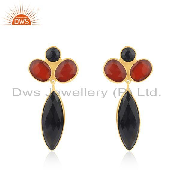 Black and Red Onyx Gemstone Gold Platd 925 Silver Earrings Supplier from India