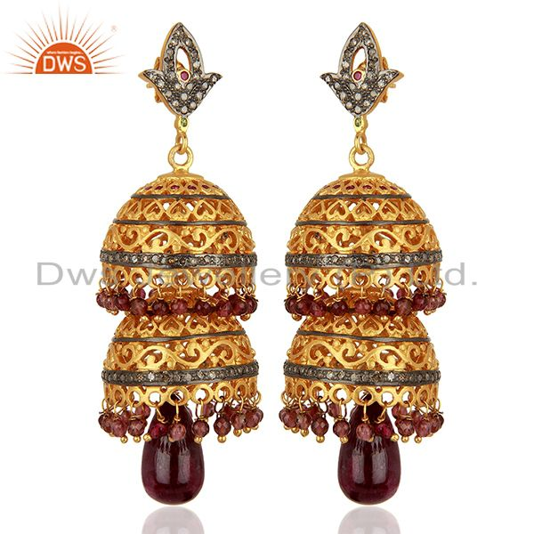Ruby Gemstone Pave Diamond Gold Plated Silver Traditional Earrings