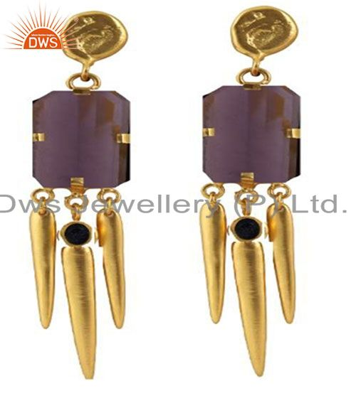 22K Yellow Gold Plated Brass Sunstone And Hydro Amethyst Chandelier Earrings