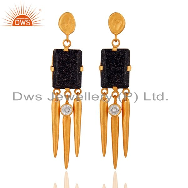 22K Yellow Gold Plated Blue Sun Sitara And CZ Spike Design Dangle Earrings