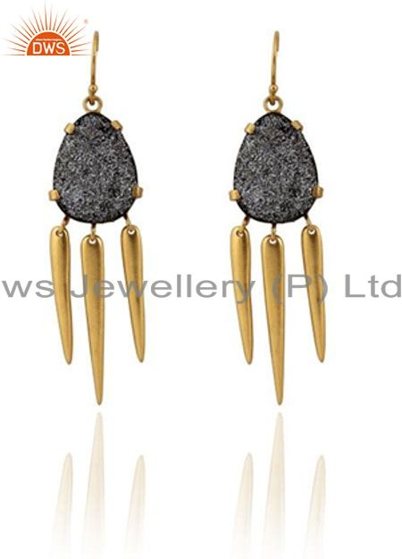 22K Yellow Gold Plated Brass Prong Set Grey Druzy Spike Chandelier Earrings