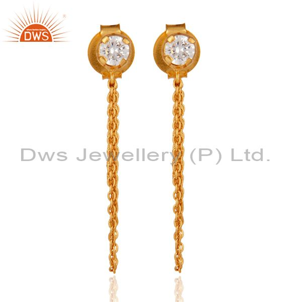 18K Yellow Gold Plated White Cubic Zirconia Fashion Dangle Earring