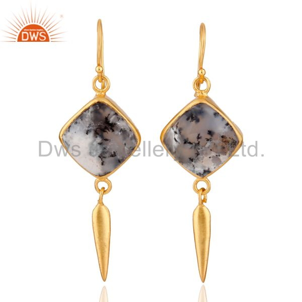 Handmade Dendritic Opal Gemstone 24K Yellow Gold Plated Spike Dangle Earrings