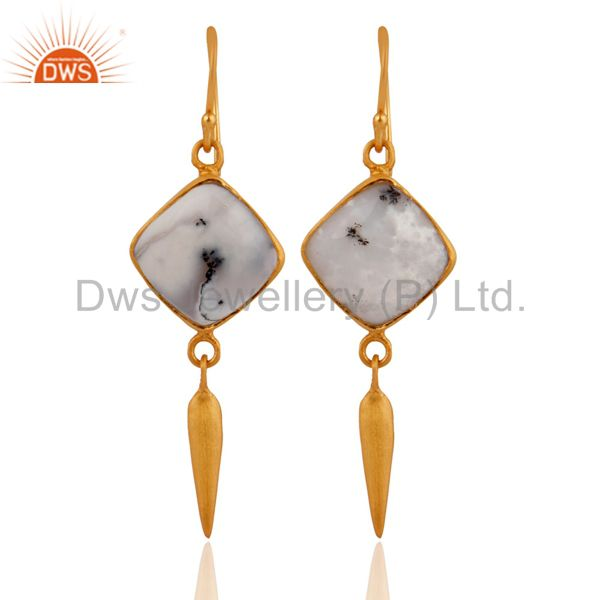 18K Yellow Gold Plated Sterling Silver Dendritic Opal Gemstone Dangle Earrings