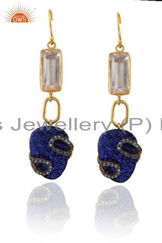 22K Yellow Gold Plated Brass Blue Druzy And Crystal Quartz Dangle Earrings