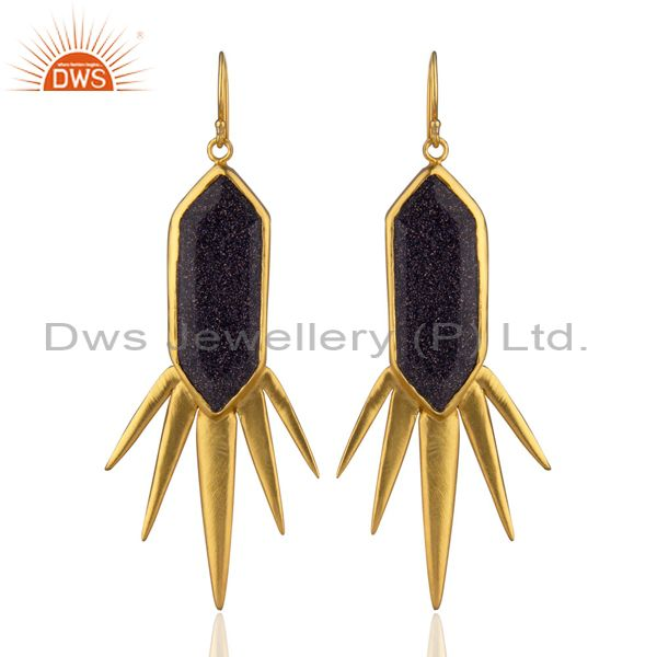 22K Yellow Gold Plated Brass Blue Sun Sitara Spike Design Dangle Earrings