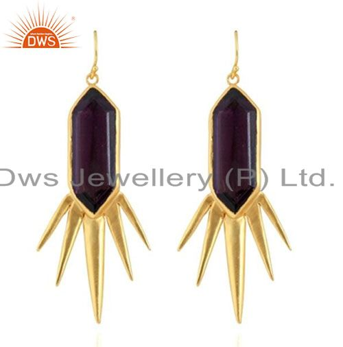 Designer Amethyst 22K Yellow Gold Plated Brass Spike Design Dangle Earrings