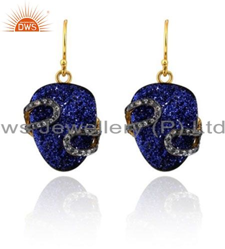 24K Yellow Gold Plated Brass Blue Druzy And CZ Designer Dangle Earrings