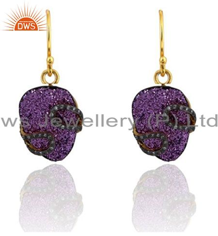 24K Yellow Gold Plated Brass Purple Druzy And CZ Designer Dangle Earrings
