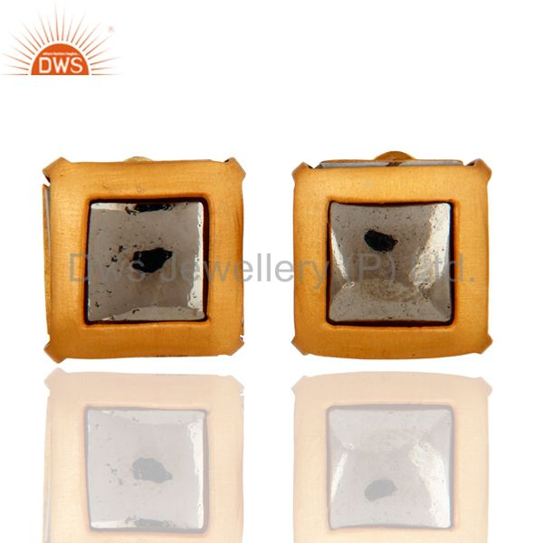 24K Yellow Gold Plated Pyrite Druzy Womens Fashion Stud Earrings