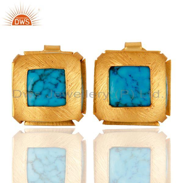 Brushed 22K Yellow Gold Plated Brass Natural Turquoise Gemstone Stud Earrings