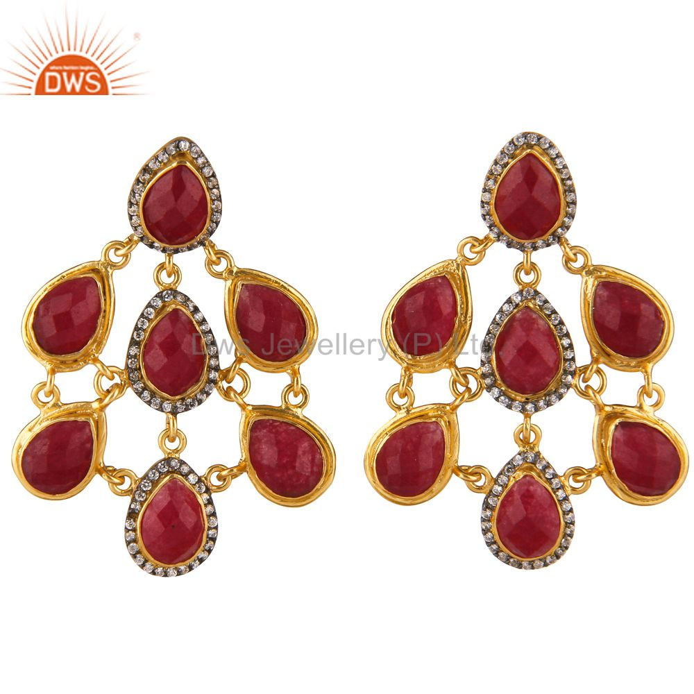 24K Yellow Gold Plated Brass Red Aventurine And CZ Womens Chandelier Earrings