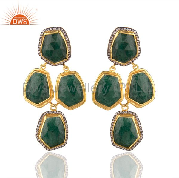 Handmade Green Aventurine And CZ Designer Earrings In 22K Gold Over Brass