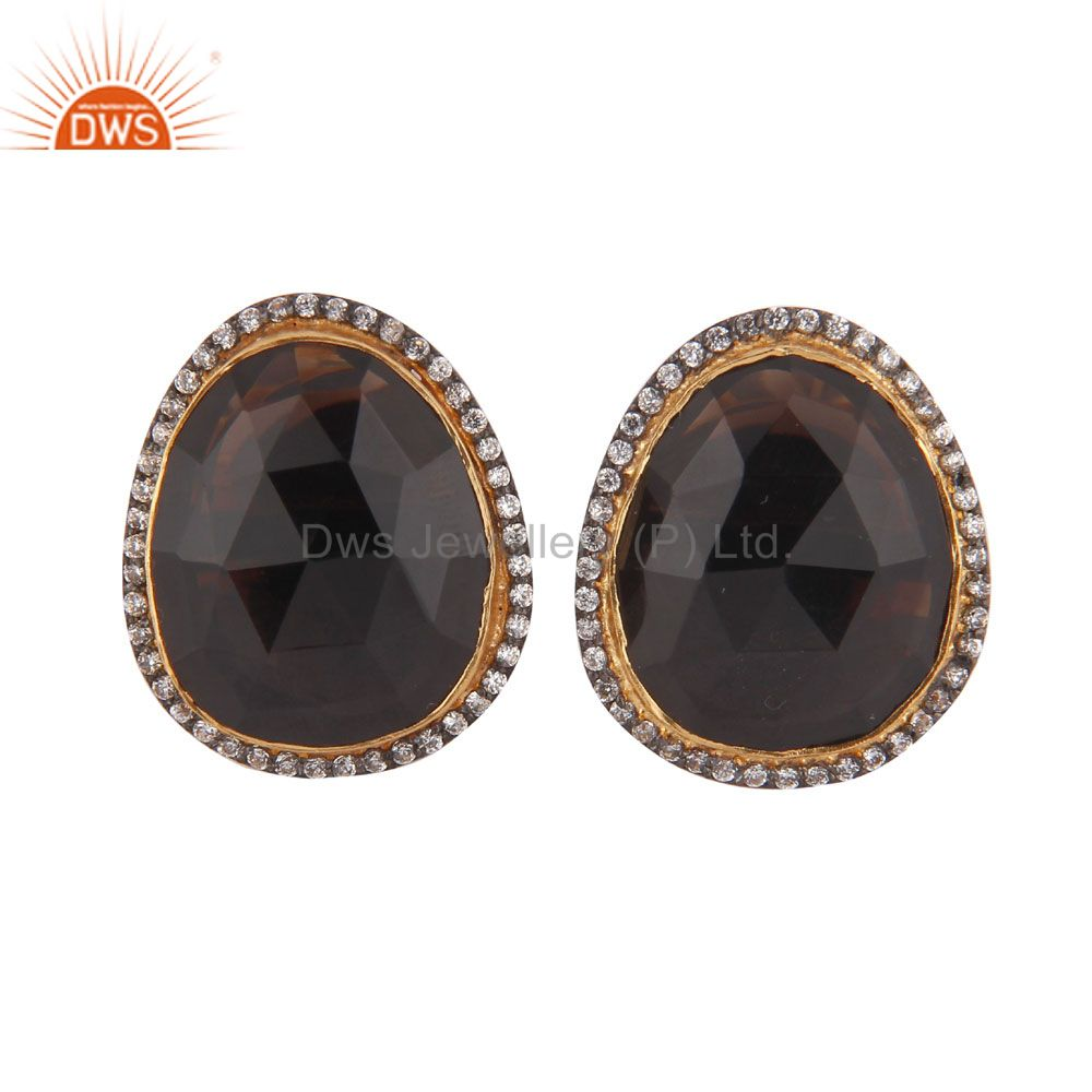 24K Yellow Gold Plated Smoky Quartz And CZ Designer Womens Stud Earrings