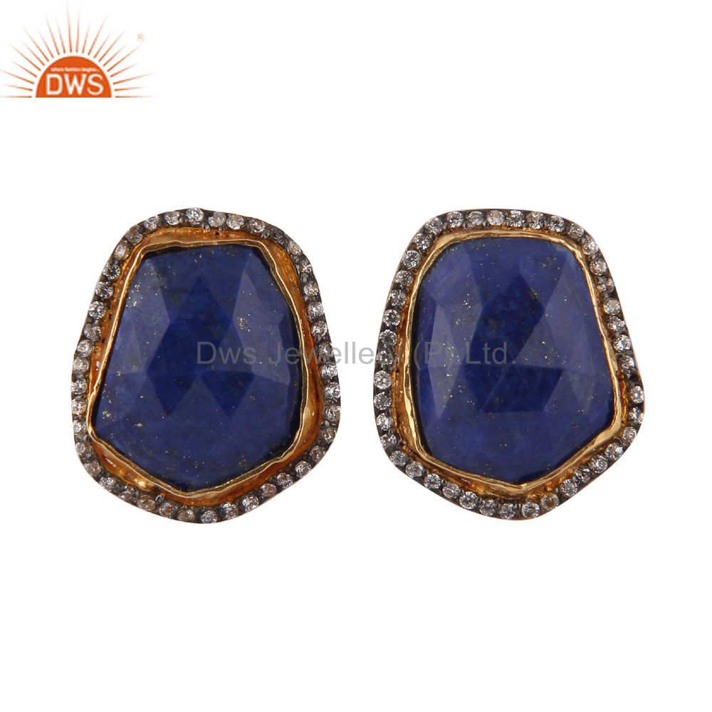 24K Yellow Gold Plated Brass Lapis Lazuli And CZ Designer Ladies Stud Earrings