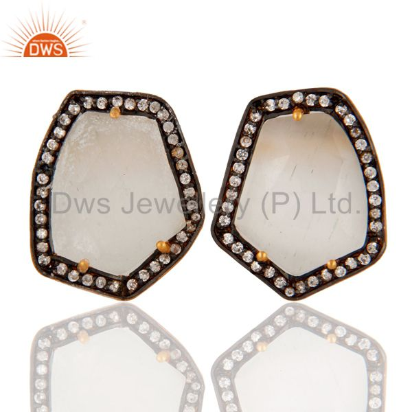 22K Yellow Gold Plated Brass White Moonstone And CZ Womens Stud Earrings