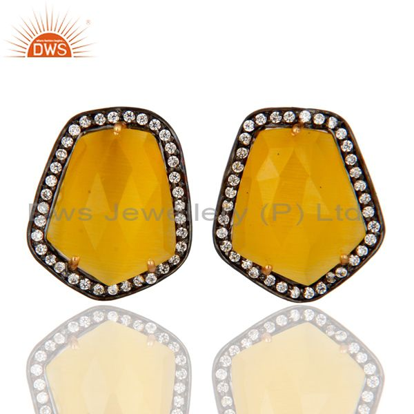 Yellow Moonstone And Cubic Zirconia Designer Stud Earrings In 18K Gold Over Bras