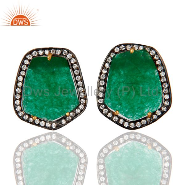 18K Yellow Gold Plated Green Aventurine Gemstone Womens Stud Earrings With CZ