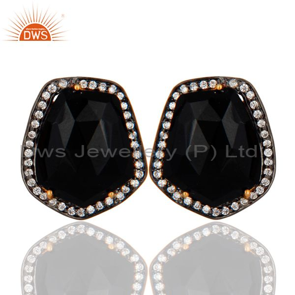 22K Yellow Gold Plated Brass Black Onyx And CZ Womens Fashion Stud Earrings