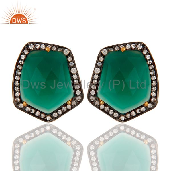 18K Yellow Gold Plated Brass Green Onyx And CZ Womens Stud Earrings
