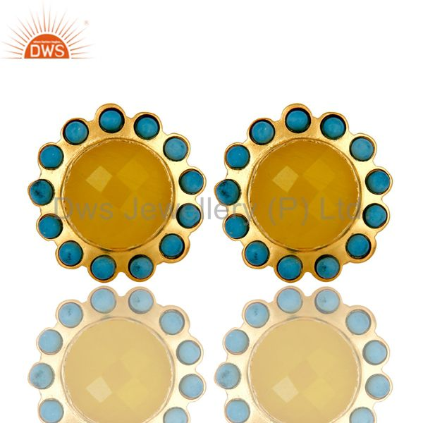 Handmade Turquoise And Yellow Chalcedony Stud Earrings Made In 18K Gold On Brass
