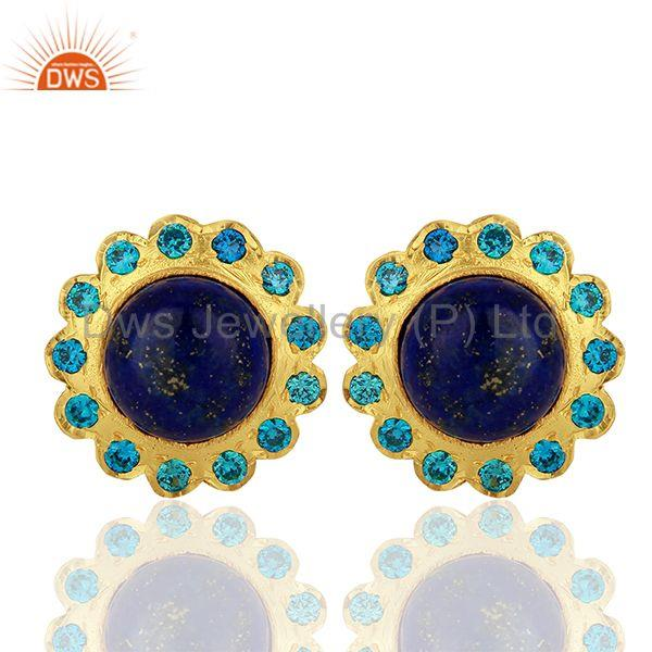 Lapis Gemstone Gold Plated Stud Earrings Manufacturer Supplier