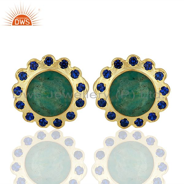 CZ Amazonite Gemstone Brass Gold Plated Fashion Stud Earring Supplier
