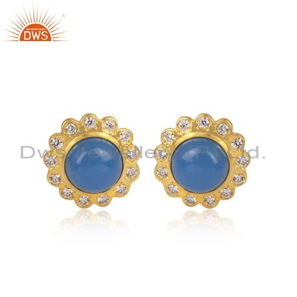 CZ And Blue Chalcedony Set Round Floral Brass Gold Earrings