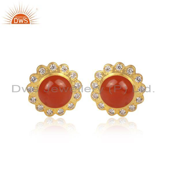 CZ And Carnelian Set Round Shape Floral Brass Gold Earrings