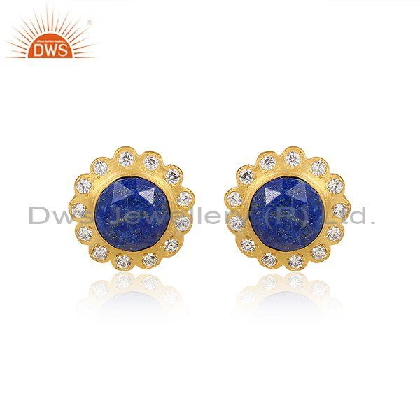 Lapis CZ Round Floral Handmade Brass Gold Fashion Earrings