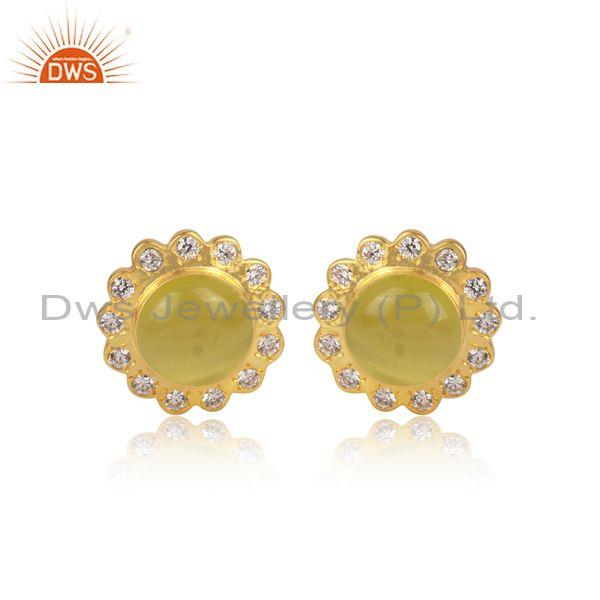 CZ, Yellow Moon Stone Set Round Floral Brass Gold Earrings