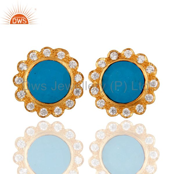 18K Gold Plated Brass Turquoise And Cubic Zirconia Stud Earrings