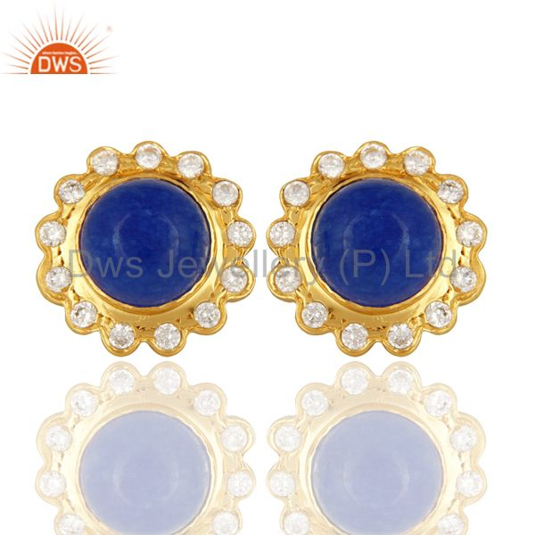 18K Yellow Gold Plated Aventurine Blue Gemstone Stud Fashion Earrings With CZ