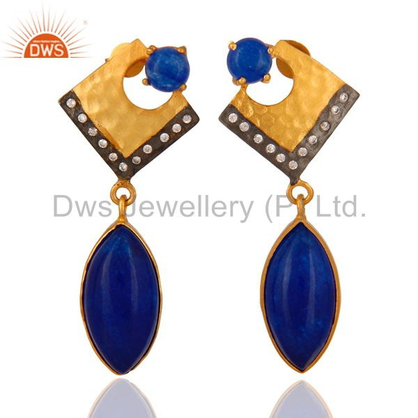 22K Yellow Gold Plated Brass Blue Aventurine Fashion Dangle Earrings With CZ