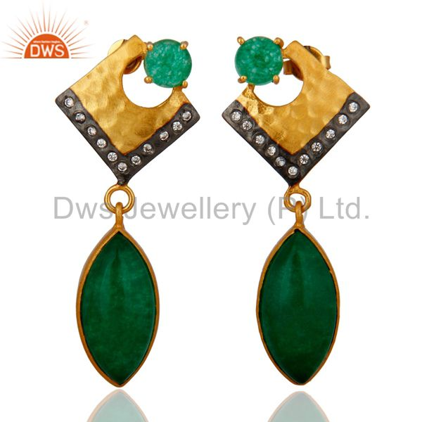 18K Yellow Gold Plated Natural Green Aventurine Dangle Earrings With CZ