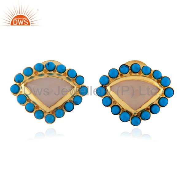 22K Yellow Gold Plated Brass Rose Chalcedony And Turquoise Stud Earrings