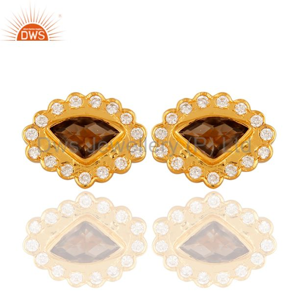 Natural Smoky Quartz Gemstone Stud Earrings With CZ In Yellow Gold Plated