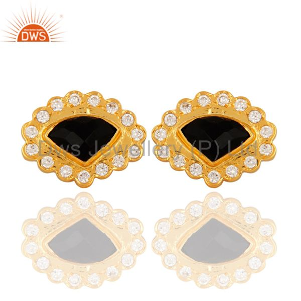 14-Carat Yellow Gold Plated Faceted Black Onyx Gemstone Stud Earrings With CZ