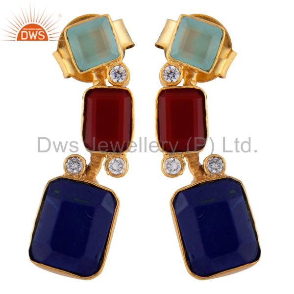 18K Yellow Gold Plated Brass Chalcedony, Lapis And Red Coral Dangle Earrings