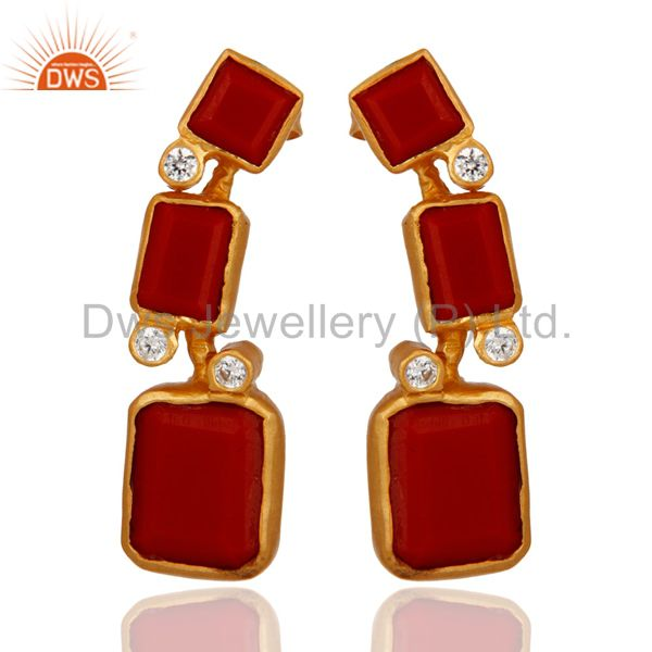 Cultured Red Coral And Cubic Zirconia 18K Gold Plated Dangle Earrings
