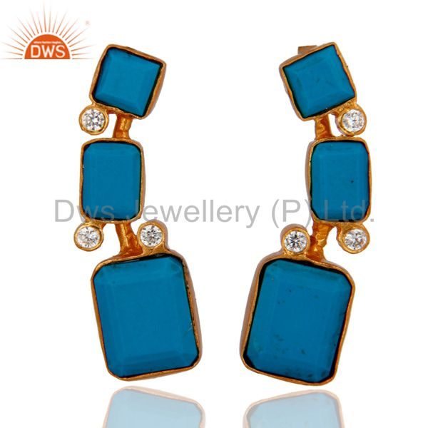 Cultured Turquoise Gemstone And Cubic Zirconia 18K Gold Plated Dangle Earrings