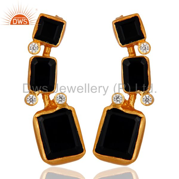 22K Yellow Gold Plated Brass Black Onyx And CZ Womens Fashion Dangle Earrings
