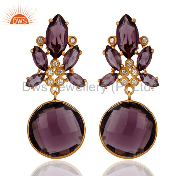 White Zircon And Hydro Amethyst Bezel Set Yellow Gold Plated Dangle Earrings