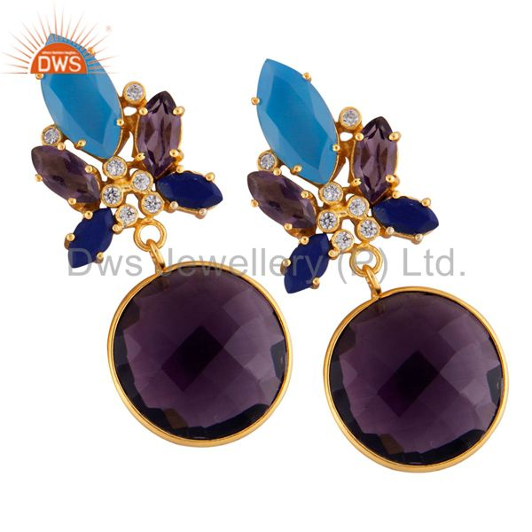 22K Gold Plated Hydro Amethyst, Lapis Lazuli And Chalcedony Dangle Earrings