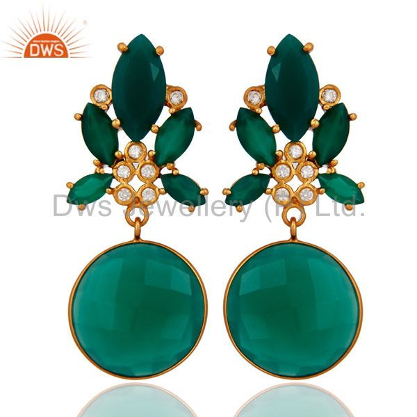 Bezel-Set Faceted Green Onyx And CZ Dangle Earrings In 18K Gold Over Brass