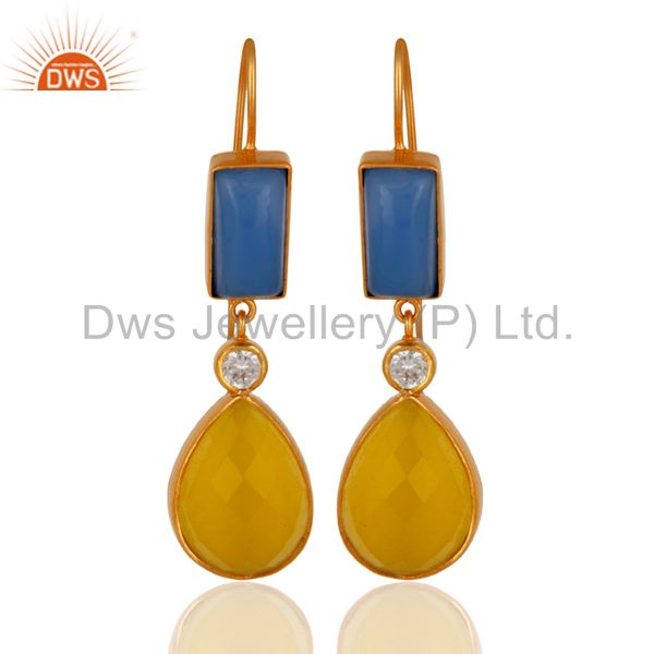 22K Yellow Gold Plated Blue Chalcedony And Moonstone Dangle Earrings With CZ